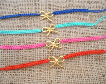 1+1, Gold bow bracelet, Friendship bracelets, Stackable jewelry, Bow jewelry, Gift for sister, Tie the knot bracelet, Party gifts, For her.