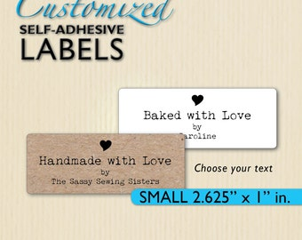 Handmade with Love Labels, Custom Stickers, Heart, Baked with Love, Brown Kraft, Shop Packaging, Homemade Box Labels, Personalized
