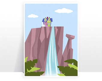 Disney Pixar Up Paradise Falls Waterfall Ellie Carl House - MANY SIZES - Modern Film Children Kids Nursery Art Print