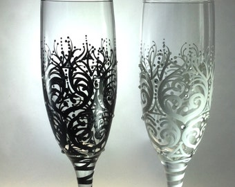 Wedding Toasting Flutes with crystals, optional personalization