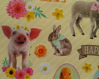set of 43 stickers stickers with bunnies, chicks, duck and pig Easter
