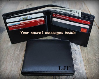 Personalized Leather Wallet - RFID Wallet - Men's Bifold Wallet - Men's Wallet - Birthday Gift for Man - Personalized Wallet - Black - 7720