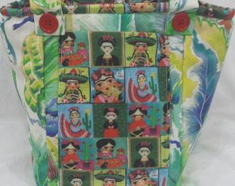 Frida Kahlo handmade, Vegan, shoulder bag.