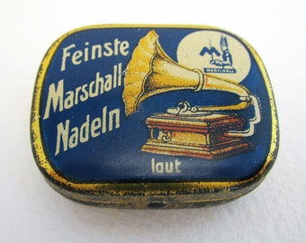 German Marschall Feinste Nadeln Laut Gramophone Needle Metal Tin Case Box. BLUE. Early 20th-Century. Antique/Vintage.