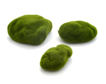 3 PC Artificial Grass Stone Moss Miniature fairy garden plants for Dollhouse terrarium fairy accessories crafts