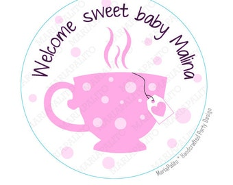 Tea Party Stickers, Baby Shower Stickers,  PRINTED round Stickers, tags, Labels or Envelope Seals A812