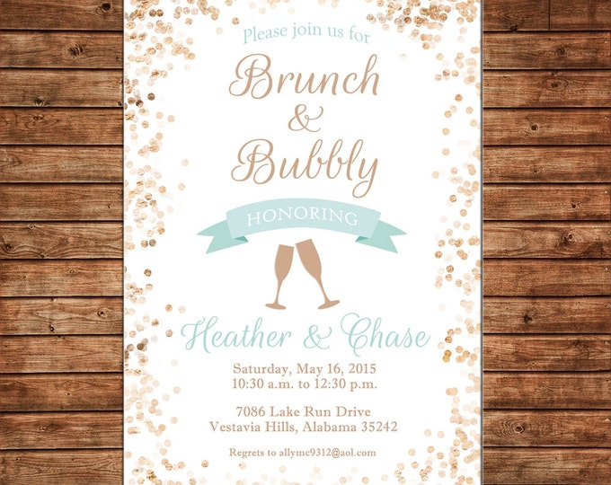 Invitation Brunch Bubbly Wedding Bridal Shower Glitter Birthday Party - Can personalize colors /wording - Printable File or Printed Cards