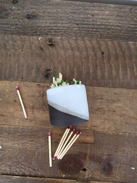 Ceramic Matchstick holder- Strike on side- White- small jar