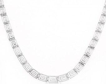 925 Greek Design Silver Necklace with Classic Greek Key Pattern