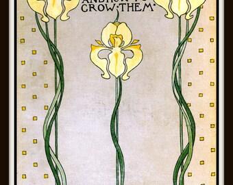 Flowers Art Print - Yellow Iris Poster - Farmhouse Decor - Cottage Wall Art - Gardener Gift - Farmhouse Garden Art