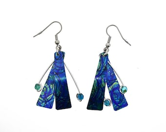Anodized aluminum sheet and wire reversible earrings with beads, unique, original and chic, multi coloured, turquoise