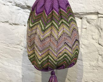Vintage 1910 1920 Chevron Knitted Silk Reticule Drawstring Bag