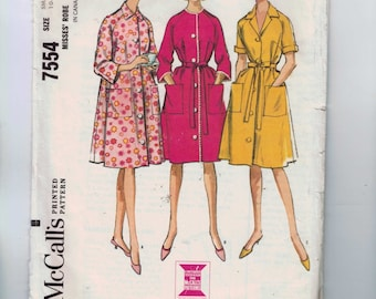 1960s Vintage Sewing Pattern McCalls 7554 Misses Robe Housecoat Size Small 10 12 Bust 31 32 1964