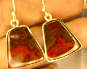Red Crazy Lace Agate Earring set in 925 Sterling Silver   (said to be the Stone of Laughter and Joy ) b7
