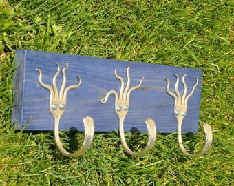 Funky Fork Rack Stained Blue Recycled Silverware