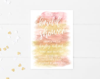 Bridal Shower Invitation, Brunch and Bubbly Bridal Shower Invitation, Blush and Gold, Bridal Shower Brunch Invitation, Bridal Shower 705