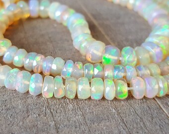 Fiery Ethiopian Welo Opal Faceted Rondelle Beads - 3mm, 4mm, 5mm, 6mm - Destash