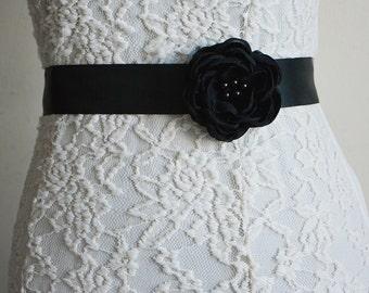 Black Bridal Sash Belt, Flower Belt, Black Wedding, Chiffon sash, Flower Sash, Bridesmaid Accessory, Flower Girl Headband, Tie Back belt