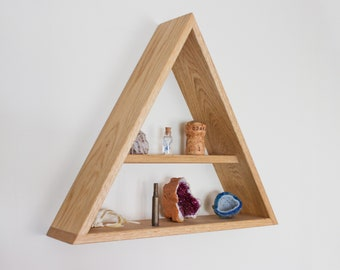 Triangle Shelf - Solid Oak - Geometric - Wall Shelf - Oak Shelf - Wall Decor - Floating Shelf - Shelves - Display Shelf - Wooden Shelf