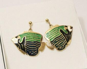 Fish Enamel Earrings, 1980's Earrings, Fish Jewelry, Made in USA Jewelry