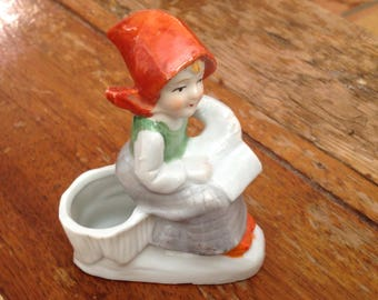Vintage hand painted young girl reading a book figurine- Japan