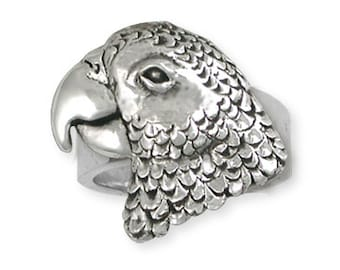 Solid African Grey Parrot Ring Jewelry Sterling Silver AF2-R