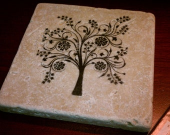 "Tree Tile Coasters, Natural Stone Coasters, Tree of Life, 4"" x 4"" Tumbled Stone"