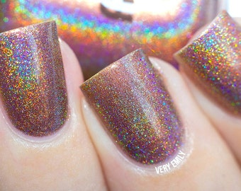 Holographic - The Bronzer The Better:  Custom-Blended Glitter Nail Polish / Indie Lacquer / Polish Me Silly