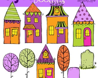 KPM Trick Or Treat Halloween Houses Digital Clip art scrapbooking