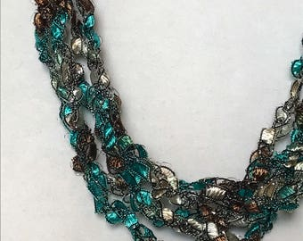 New! Teal Treasure - Hand Crocheted Necklace