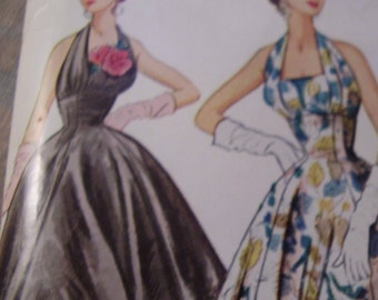 SALE Vintage 1950's McCall's 9662 Evening Dress Sewing Pattern, Size 14, Bust 32