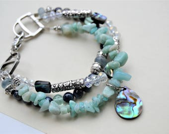 AMAZONITE ABALONE CRYSTAL Three Row Bracelet Blue Shell and Abalone Shell Charm