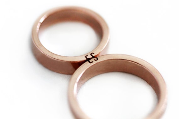 Unique couple ring set Initials ring set Rose gold wedding