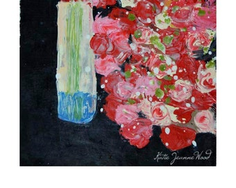 Pink Roses Painting. Acrylic Flower Painting. Palette Knife Floral Art. Romantic Anniversary Gift. 191
