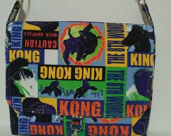 Vintage fabric King Kong messenger bag with flap