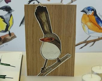 "Hand Made Card / Illustrated Greeting Card/ Bird Card / Hand made greeting card ""Wren"""