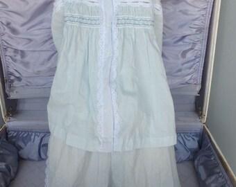 Vintage Pajama Set, Light Blue 2 pc Pajama Set, Cotton, NOS,  Pretty Lingerie, Size M,