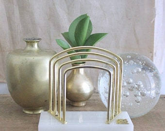 Vintage Onyx And Brass Letter Holder Organizer