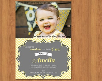 Sunshine First Birthday Invitation