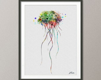 jellyfish poster jellyfish print jellyfish watercolor jellyfish decor jellyfish art decor poster print scaleph art scaleph poster A125