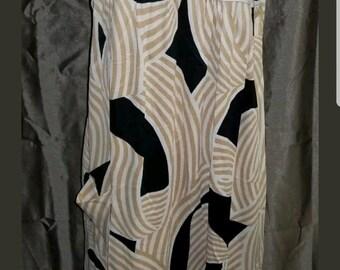 Vintage Handmade Retro Mod House Dress Geometric Design 37 - 46 - 49