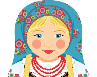 Polish Wall Art Print featuring culturally traditional dress drawn in a Russian matryoshka nesting doll shape