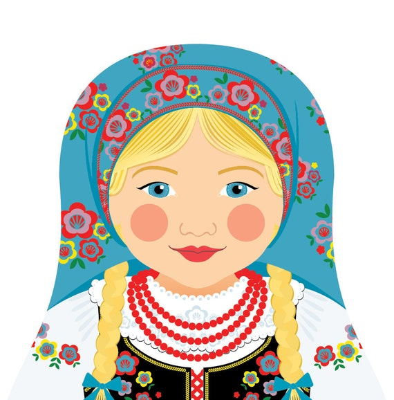 Polish Doll Art Print with traditional folk dress, matryoshka
