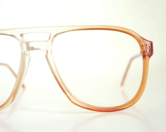 Vintage Mens Eyeglasses Clear Apricot 1970s Guys Glasses Double Bridge Deadstock NOS New Old Stock 70s Seventies Authentic Lunettes