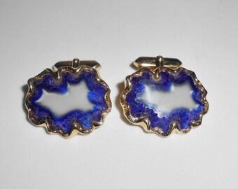 Art Glass Cufflinks Cuff Links Vintage Mid Century Men's Accessories Geode Blue Freeform