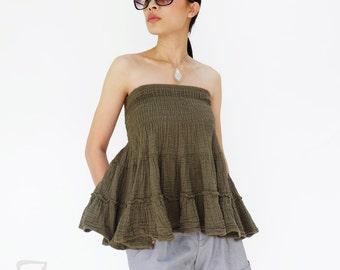 NO.202 Olive Double Cotton Gauze Ruffle Tube Top, Ruffle Mini Skirt, Women's Top