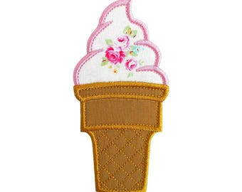 """Soft Serve Ice Cream Cone Machine Embroidery Design Applique Patterns in 5 sizes 4"""", 5"""", 6"""", 7"""" and 8"""""""