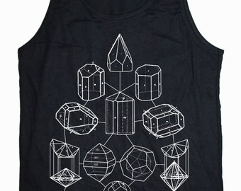 Men's CRYSTAL MATH Tank Top Cosmic Mineral PowerSacred Geometry Shirt