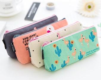 Linen Fabric Pen Pouch Case -Gel Ink Pen Pouch Receive Pouch Makeup Pouch