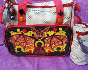 Pheonix Bat Small Baby changing Diaper Nappy Bag Shamballa Pagan Gothic Wiccan Witchcraft Pentagram Flames